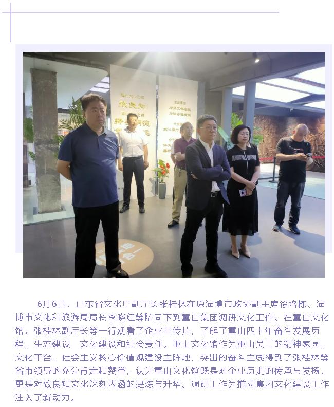 山东省文化厅副厅长张桂林到重山集团调研91